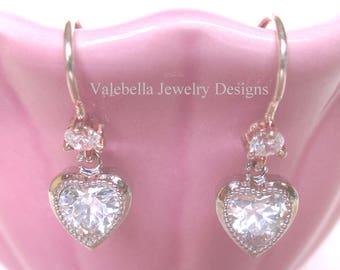 Heart Earrings, Cubic Zarconia earrings,  sterling silver earrings, rhinestone heart earrings, love engagement bridal jewelry Valentines Day