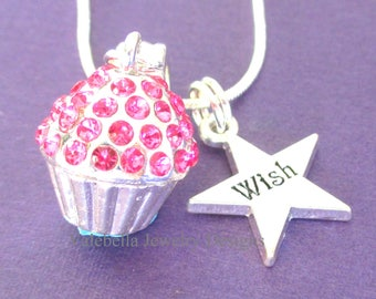 Girls birthday necklace, birthday necklace, cupcake necklace, wish star gift teen tween birthday gifts silver initial necklace PERSONALIZED