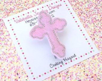 Hairclip Cross Baptism Communion Christmas Easter Religious gift topper ONE CLIP pink baby girls kids tween teen accessories Catholic school