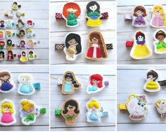Hair clip Princess hair clips CHOOSE 1 CLIP girls birthday gift accessory birthday party favor blonde brunette multicultural mermaid fairy