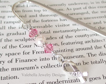 Bookmark Pink Ribbon breast cancer awareness swarovski crystal pearl shepherds hook CUSTOMIZE IT book club teacher reader book lover gift