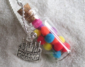 Necklace Party in a bottle necklace Happy Birthday Cake charm rainbow colors handmade girls kids tween teen birthday gift jewelry