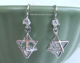 Earrings Star of David 3D sterling silver french wire crystal rhinestone dangle religious jewelry Jewish Judaica Bar Mitzva hanukkah gift