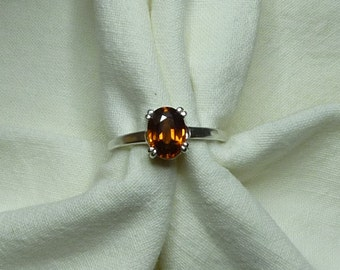 8mm x 6mm oval cut 2 ct red orange brown zircon sterling silver ring size 7