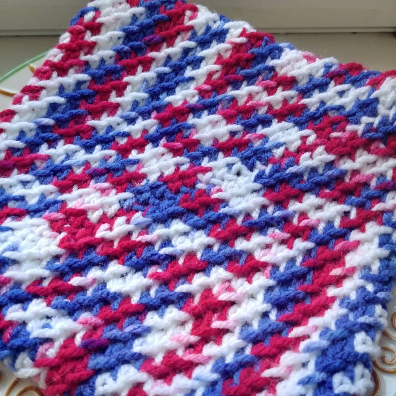 Red White and Blue Double Layered Crocheted Pot HoldersHot PadsTrivets