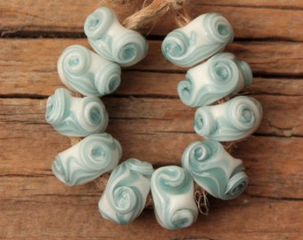 ONLY 1 AVAILABLE! Mini Swirlies- 10 lampwork beads