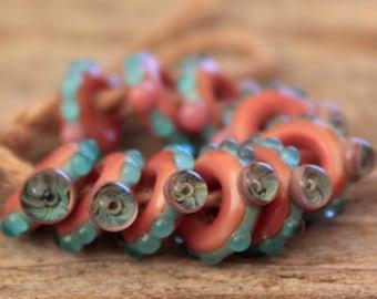 Rings- A set of 10 lampwork beads