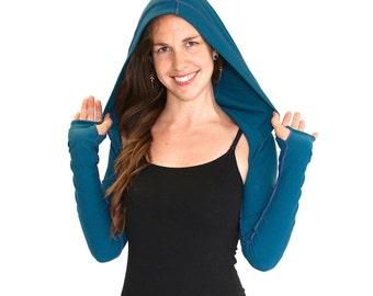 Shrug Bolero with hood Long Sleeve with thumbholes - INTREPID SHRUG, bolero, dancewear, festival clothing, boho