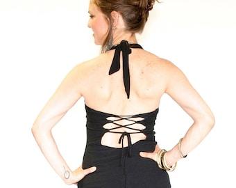 Sexy Yoga Top, Corset back tank top - MAVERICK CORSET - halter neck, princess seams, yoga, hooping, tango, festival clothing