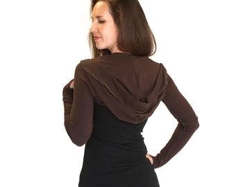 Womens Long Sleeve Hooded Shrug with thumbholes - INTREPID SHRUG, bolero, dancewear, festival clothing, boho