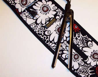 Curling Iron Case / Flat Iron Cover (Insulated) For Travel Storage, or the Gym - Zesty Zinnia