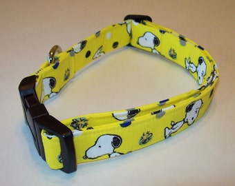 Awesome Dog Collar // Adjustable // Snoopy And Woodstock On Yellow / Snoopy on Blue/ Snoopy on Red/ Woodstock on Green/ Charlie Brown