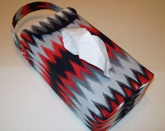 NEW!  Automobile Hanging Tissue Box Cover / Tissue Box Cozy / Automobile Accessory For Your Car / Red Black And Gray Chevron