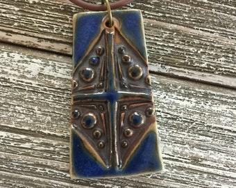 Royal Blue Cross Porcelain Pendant