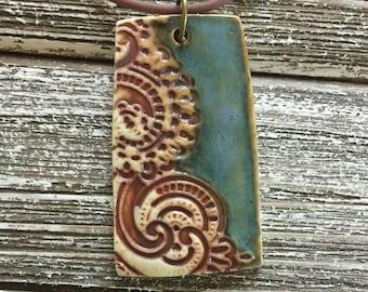 Rustic Lace Porcelain Pendant