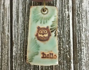 Happy Owlette in the Pines Porcelain Pendant 1