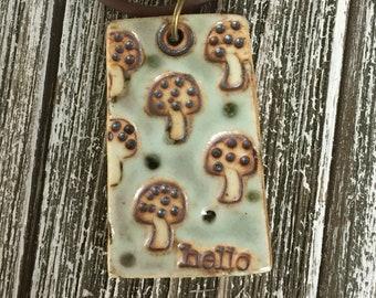 Amiable Mushrooms Porcelian Pendant 2
