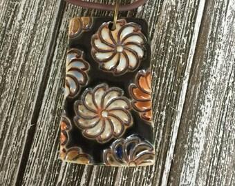 Bouquet on Black Porcelain Pendant