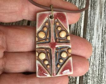 Textured Copper Red Cross Porcelain Pendant