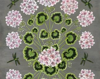 Geraniums and Dragonflies - Print