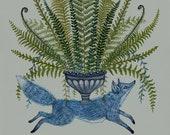 Blue Fox with Ferns - Print