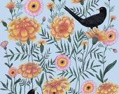 Blackbirds in the Marigolds - Print