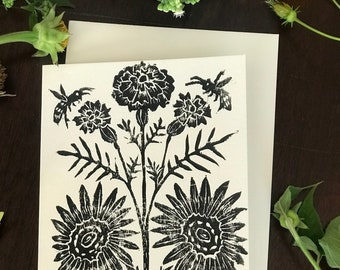 Marigolds and Sunflowers - Note Card