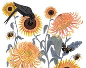 Chrysanthemums and Sunflowers - Print