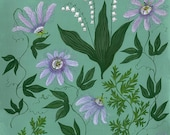 Passionflower and Lily of the Valley - Print