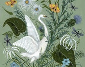 Egret with Thistle - Print