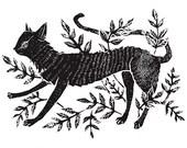 Cat in Vines - Print