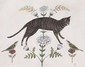 Brown Tabby with Birds - Print