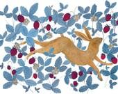 Wild Strawberry Hare - Print