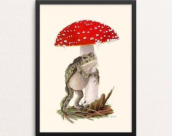 Embrace This Place - Nothing But Hugs print - Toad - Mushroom  - Gallery Wall - Animal Art - Friendship - Woodland Nursery - Kids Room