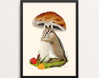 Shelter in Place - Nothing But Hugs print - Chipmunk - Mushroom  - Gallery Wall - Animal Art - Friendship - Woodland Nursery - Kids Room