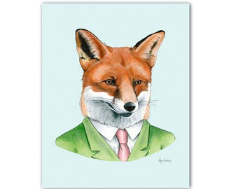Fox Boy In A Scarf Dictionary Art Print Vintage Animal in Clothes