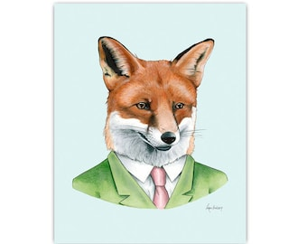 Red Fox art print by Ryan Berkley Illustration 5x7