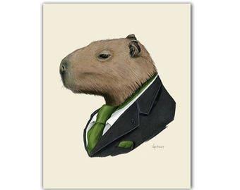 Capybara animal print - modern kids art - unique baby gift - animals in clothes - animal artwork  - by Ryan Berkley 8x10