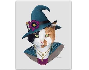 Witch Cat art print - Animals in Clothes - Animal Art - Calico - Pet Portrait - Ryan Berkley Illustration