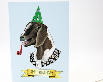 Happy Birthday Card - Party Goat - Goat Lady - Berkley Illustration - Farm Party - Greeting Card - Ryan Berkley - Dapper Animals