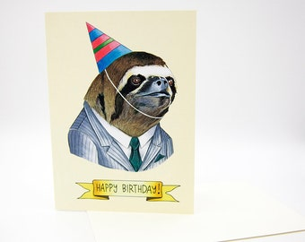Happy Birthday Card - Party Sloth - Business Sloth - Berkley Illustration - Greeting Card - Ryan Berkley - Dapper Animals
