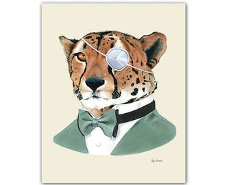 Cheetah art print - animal art - cheetah print - animal in suit - unique gift  - groomsmen gift - guy gift - Ryan Berkley Illustration 5x7