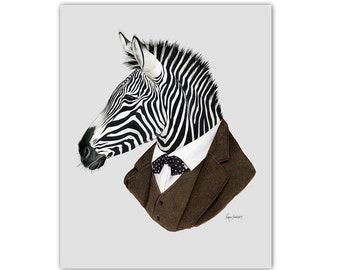 Zebra print animal art - zebra print -dapper animals - safari theme - safari nursery - modern kids - Ryan Berkley Illustration 5x7