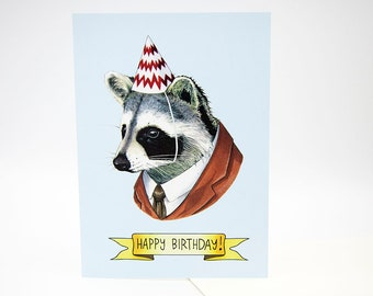 Happy Birthday Card - Party Raccoon - Raccoon Art - Berkley Illustration - Greeting Card - Ryan Berkley - Dapper Animals
