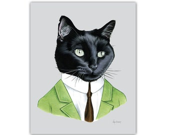 Black Cat Gentleman art print 11x14