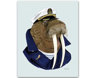 Walrus art print - Animal art - Nursery art - Nursery decor - Animals in Clothes - Children's art - Ryan Berkley Illustration 11x14