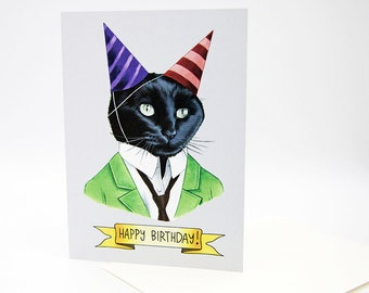 Happy Birthday Card - Party Cat - Black Cat - Berkley Illustration - Cat Party - Greeting Card - Ryan Berkley - Dapper Animals