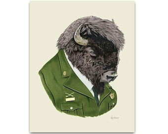 Bison art print 5x7