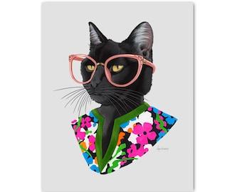 Fashion Cat print 8x10 - Black Cat Art - Pet Portrait - Leo  Gift - Ryan Berkley - Berkley Illustration