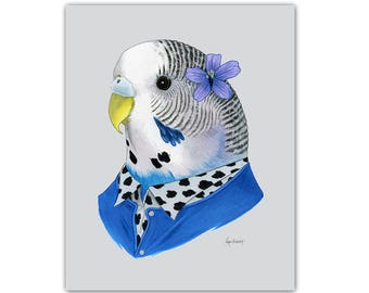 Parakeet animal print - Budgie art print - modern nursery - animals in clothes - animal art - pet portrait - Ryan Berkley Illustration 5x7
